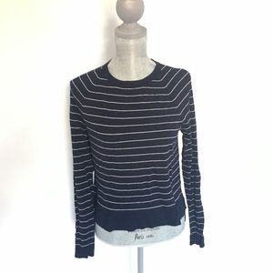 LOFT Navy and White stripe lightweight sweater